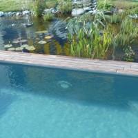 Piscine extérieure bi-eaux naturelle