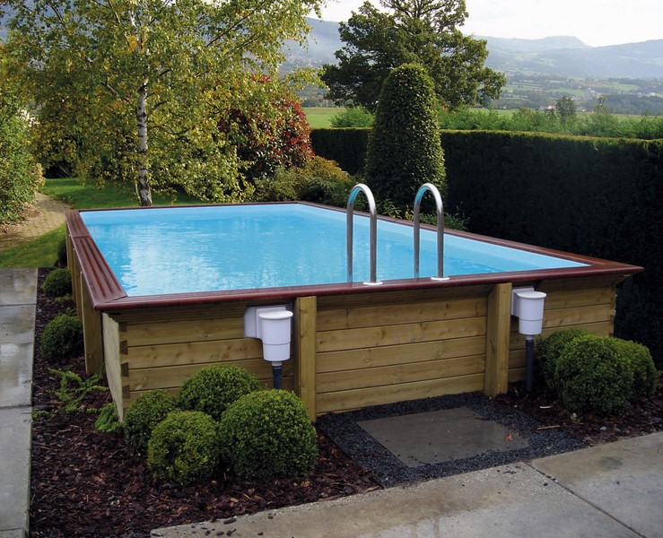 Piscine autoportante bois for Piscine jardin rectangle