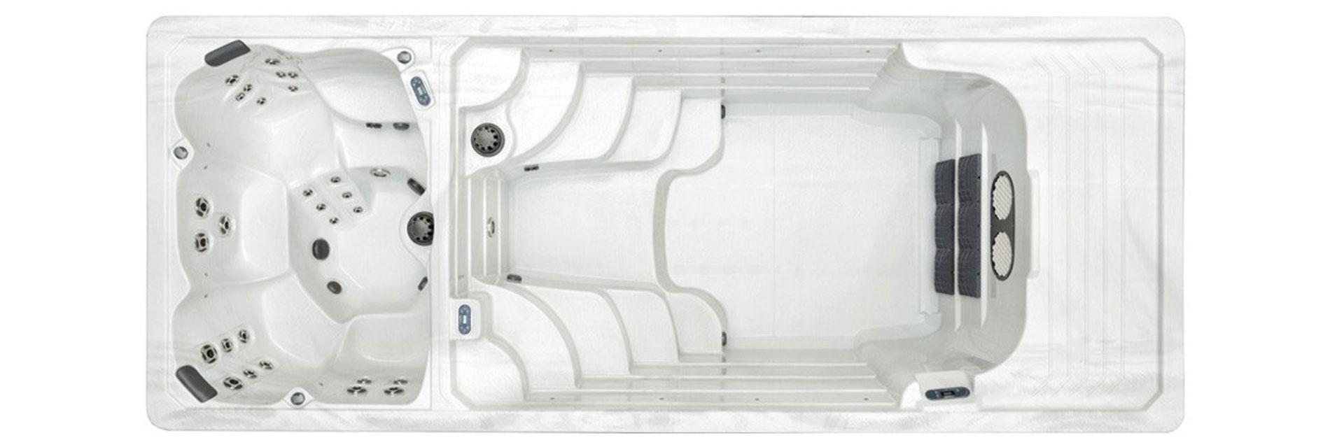 Spa de nage SUNRISE SWIM SPA 1900 DZ compartimenté pour deux eaux à différentes températures.