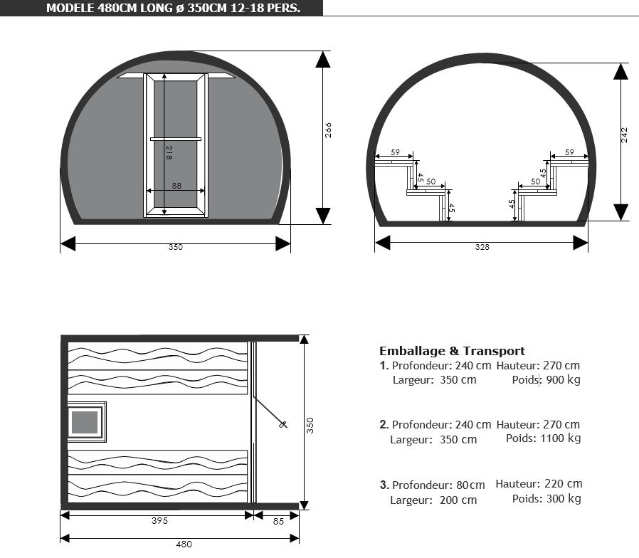 dimensions sauna XL eclipse - piscine et jardin - nord pas de calais picardie
