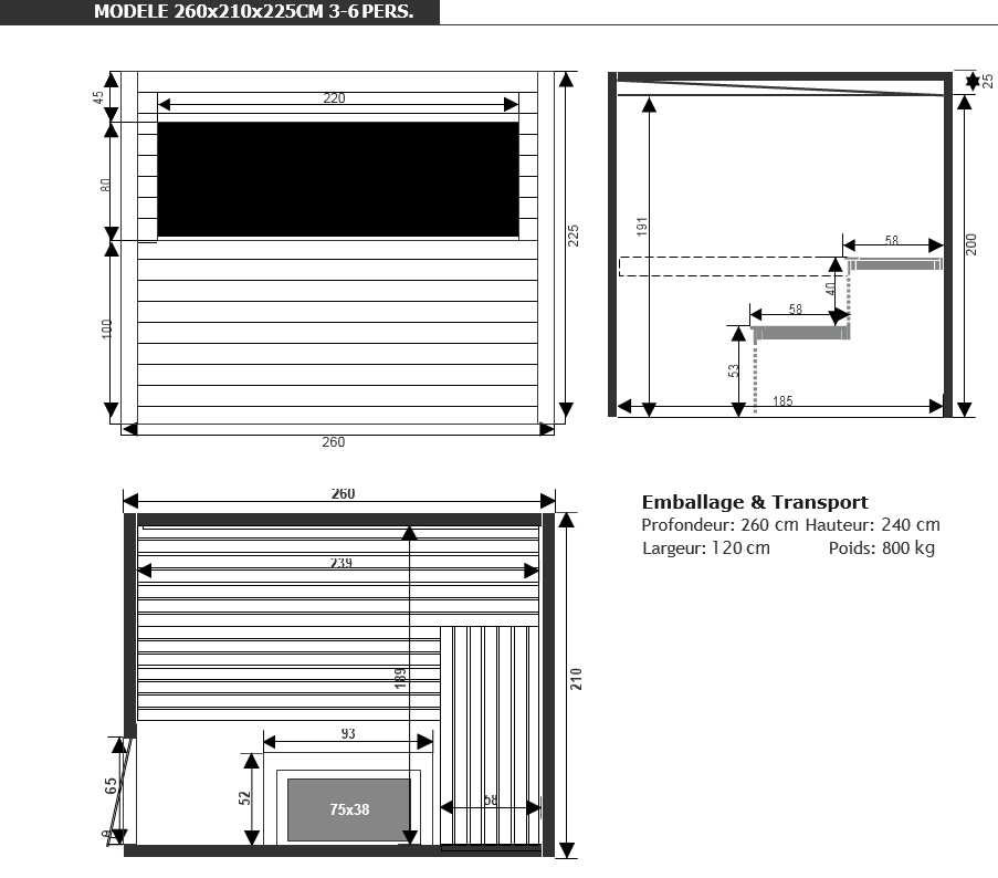 dimensions sauna chaleur piscine et jardin