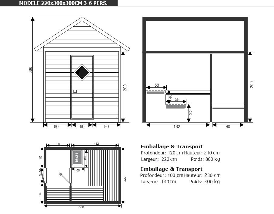 dimensions sauna confort - Piscine & Jardin - Nord-pas-de-calais-picardie