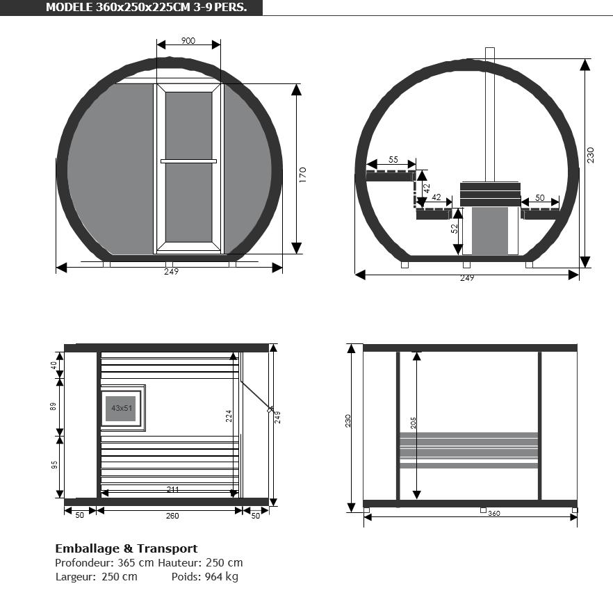 Dimensions sauna eclipse d'extérieur - piscine & Jardin